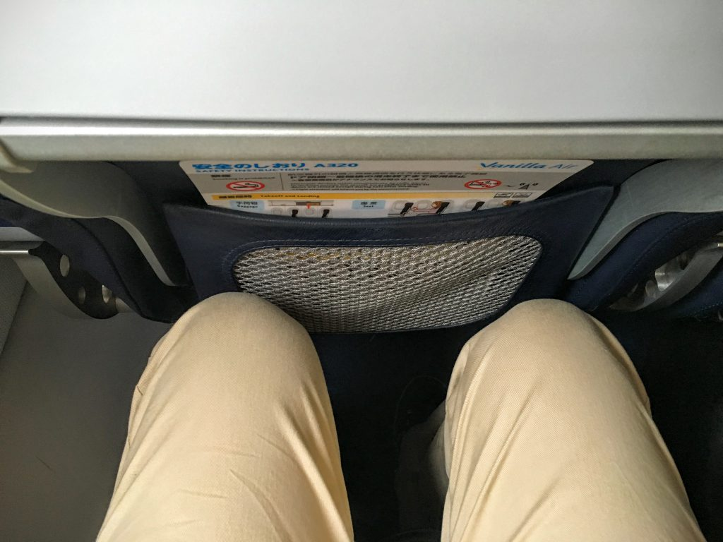 足元は、JALや全日空に比べて、少し狭いですが、174cmの私は問題なく座れました。