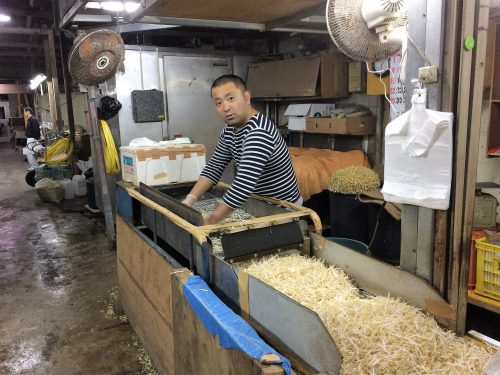 農連市場もやしの根を取る機械