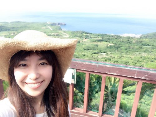 向こう側に沖縄本島最北端の辺戸岬が見える