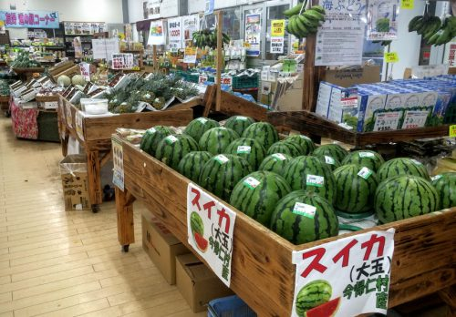 今帰仁村の人気のスイカもお得な料金で販売されてます。とても甘くて一度食べたら、他のスイカが食べれなくなります。