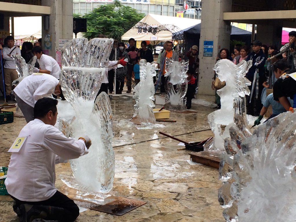 名護、今帰仁、本部さくら祭りの名護は氷の彫刻