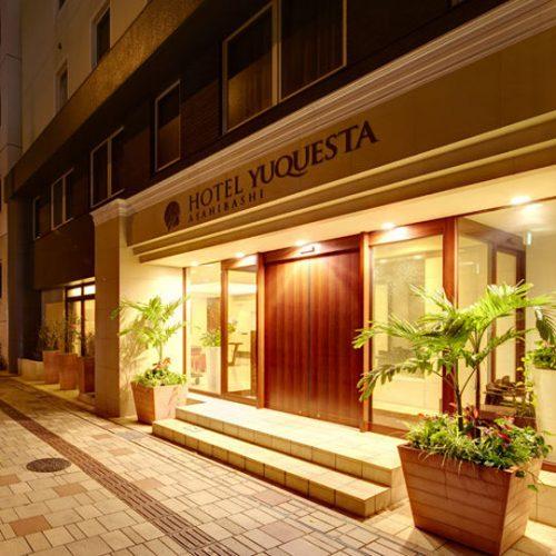 ホテルユクエスタ旭橋駅前の玄関です。