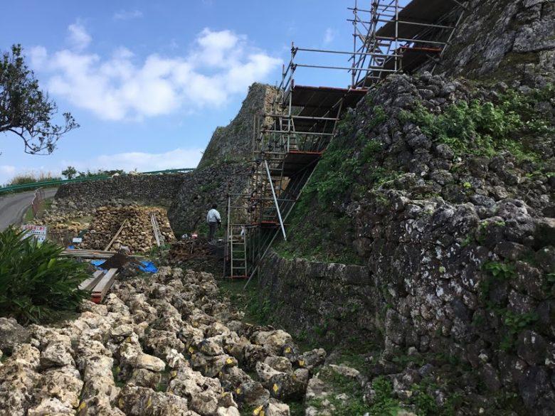 世界遺産中城城跡の城壁修復作業