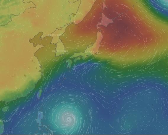 windyも台風のチェックには便利。これで台風情報を確保