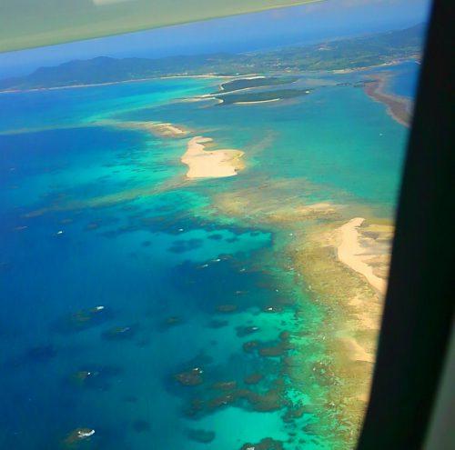 機内から見る久米島はての浜