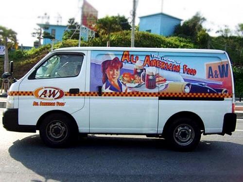 沖縄限定で働く沖縄の営業車A&Wエンダー号