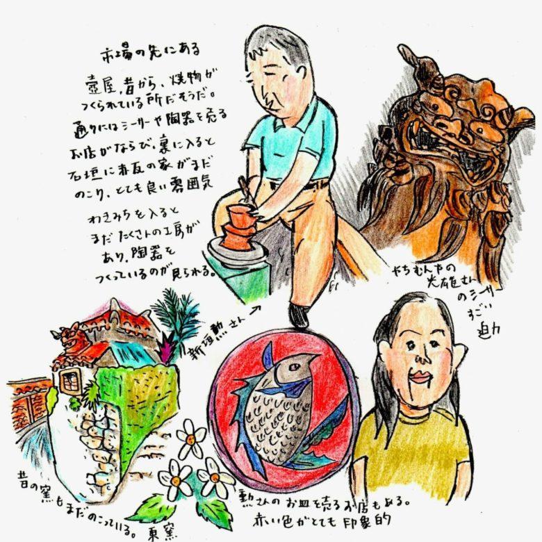 おきなわスローツアー高野純一さんのやちむん壺屋イラスト