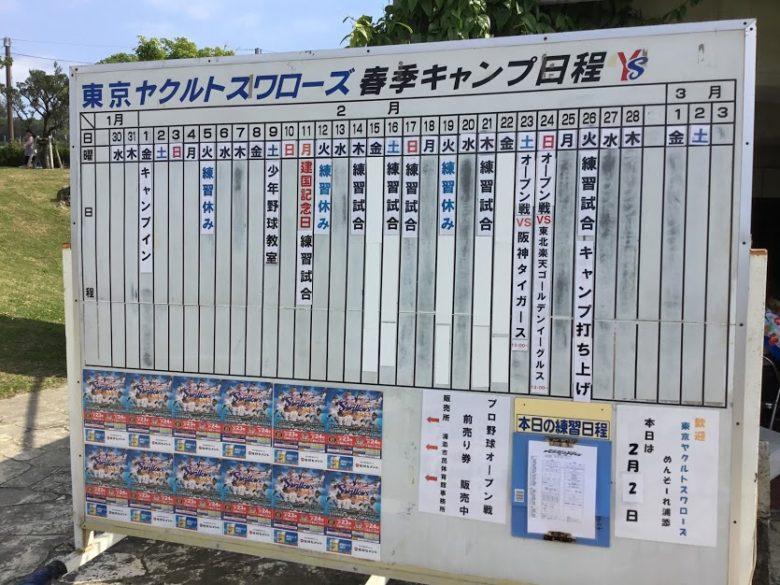 プロ野球沖縄キャンプイン!浦添市のヤクルトキャンプスケジュール