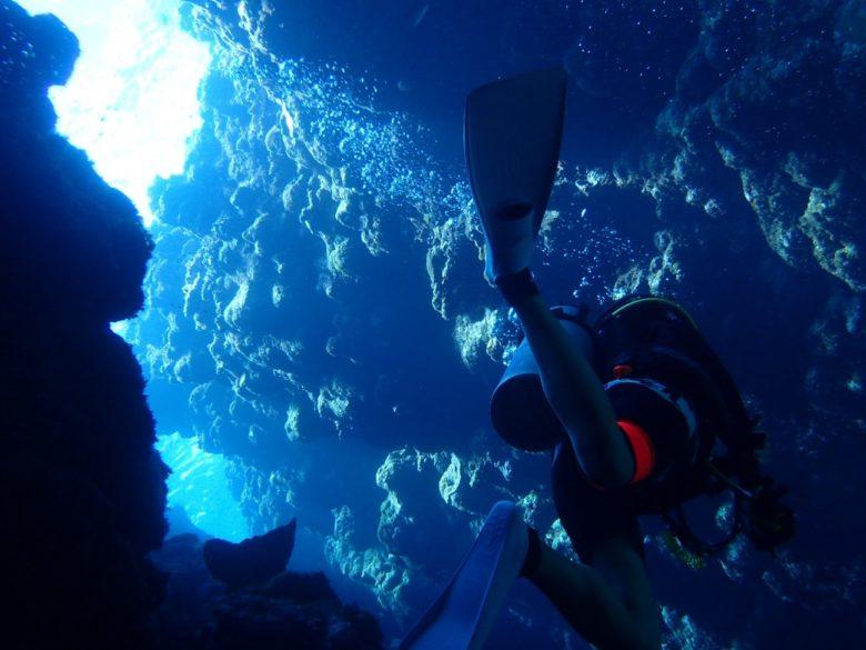 水中速報、ケラマブルーの海をダイビング