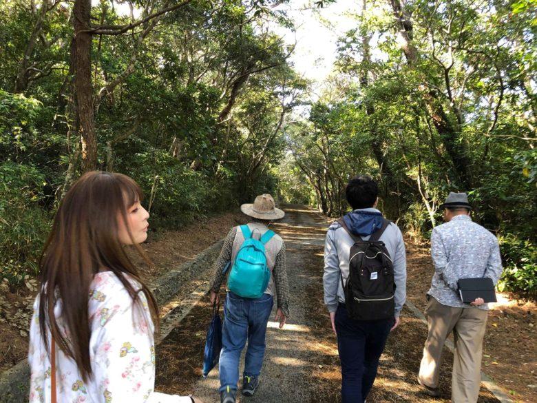 久米島の自然の中、ニブチの森を歩く