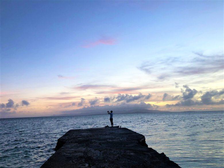 夕焼けが見事な竹富島西桟橋